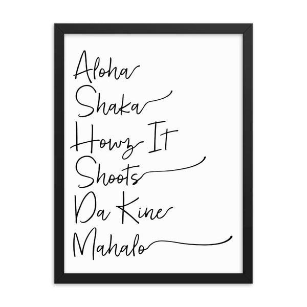 Naupaka Black / 18×24 Hawaiian Pidgin Words Handwriting Framed Art 6836175_3