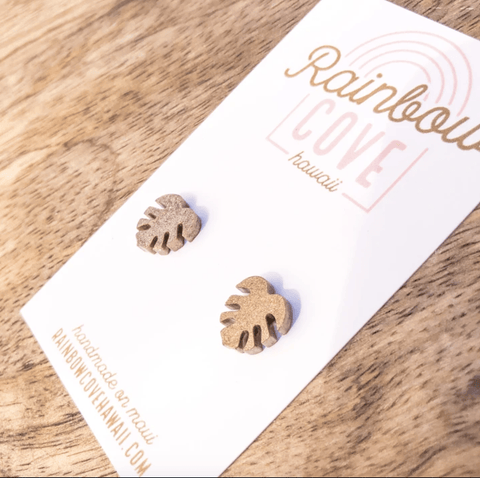 Rainbow Cove Hawaii Earrings Metalic Bronze Monstera Stud Earrings
