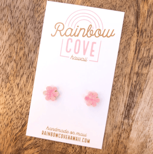 Rainbow Cove Hawaii Earrings Pink Glittery Opal Flower Stud Earrings