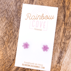 Rainbow Cove Hawaii Earrings Purple Glittery Opal Flower Stud Earrings