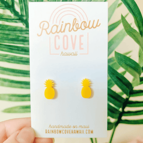 Rainbow Cove Hawaii Earrings Yellow Pineapple Stud Earrings