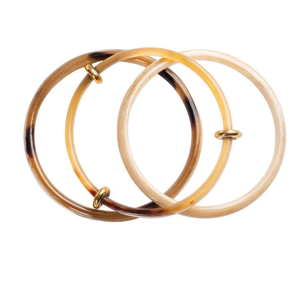 Repurposed on Purpose Horn bangles set of 3 in brown 82110003