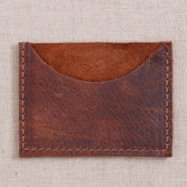 Repurposed on Purpose Leather Card Carrier in Cognac 5790002