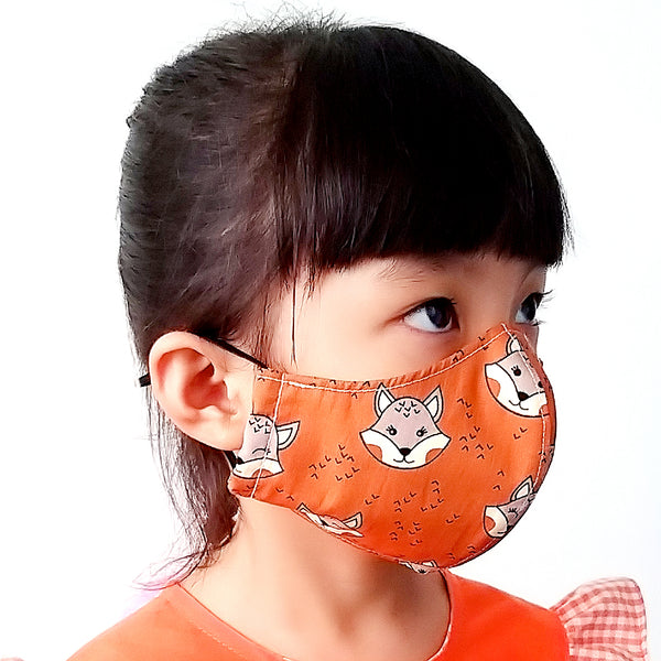 Face Mask (Pocket Insert) KIDS SIZE - Foxes (Brown)