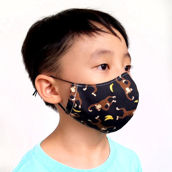 Face Mask (Pocket Insert) KIDS SIZE - Monkey Bananas