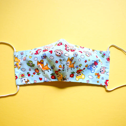 Face Mask (Pocket Insert) - Vintage Kawaii Wonderland (Mint Blue)
