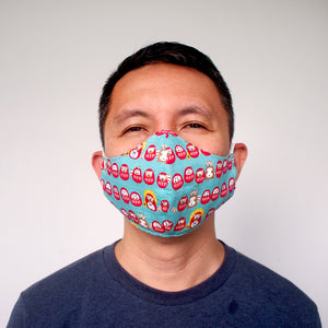Face Mask (Pocket Insert) - Raccoon Dogs & Daruma Dolls (Turquoise)