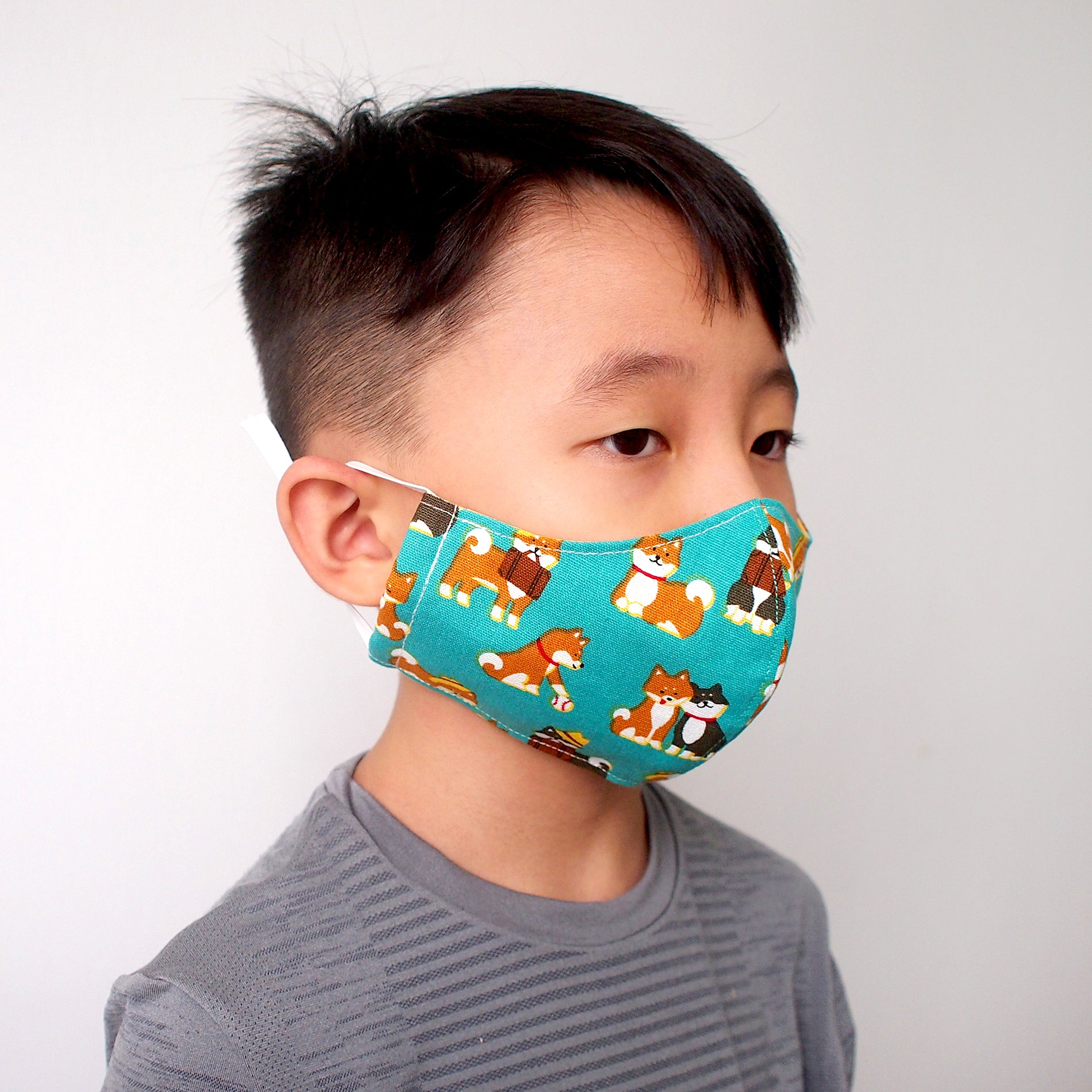 Face Mask (Pocket Insert) Kids Size - Shiba Inu's Day Out (Teal)