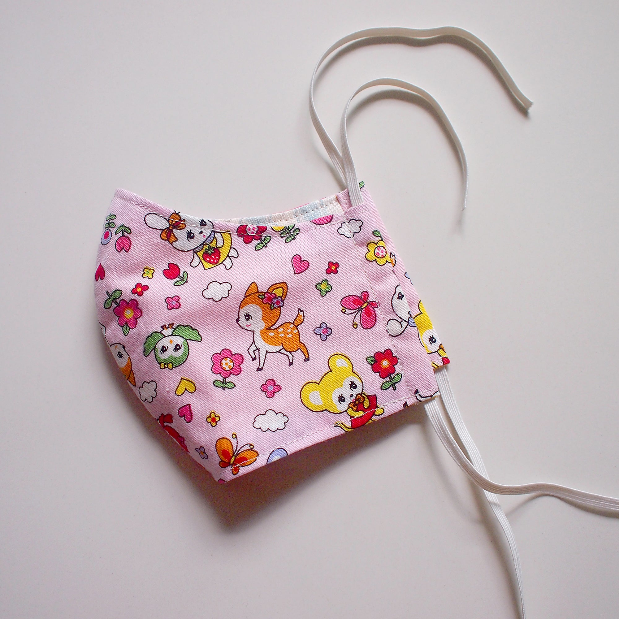 Face Mask (Pocket Insert) Kids Size - Vintage Kawaii Wonderland (Pink)