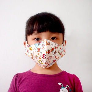 Face Mask (Pocket Insert) Kids Size - Vintage Kawaii Wonderland (Cream)