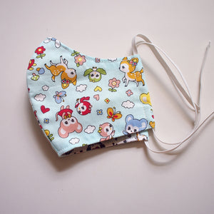 Face Mask (Pocket Insert) Kids Size - Vintage Kawaii Wonderland (Mint Blue)