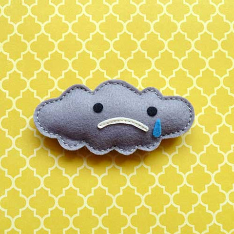 Felt Pin Brooch - Puffy Sad Gray Cloud