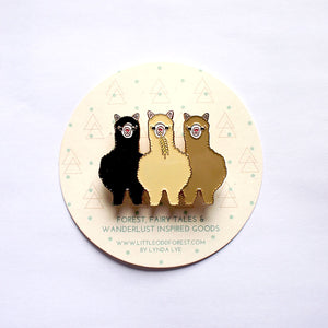 Enamel Pin Brooch - Three Alpaca Amigos II