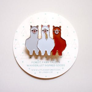 Enamel Pin Brooch - Three Alpaca Amigos I