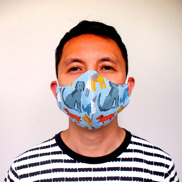 Face Mask (Pocket Insert) ADULTS - Blue Dogs