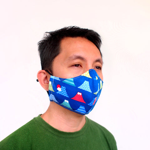 Face Mask (Pocket Insert) - Mount Fuji I (Blue)