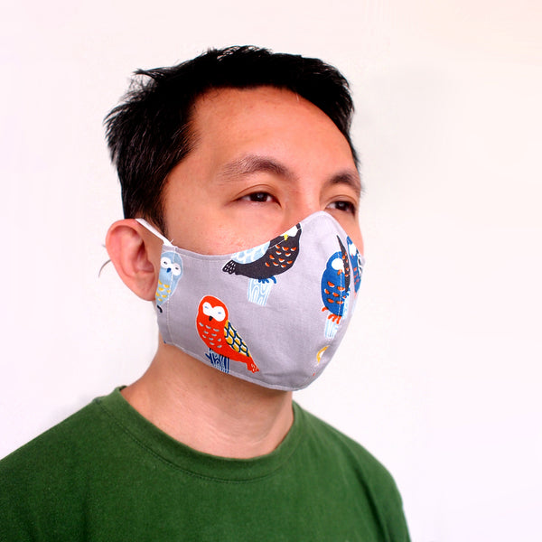 Face Mask (Pocket Insert) ADULTS - Colored Owls (Gray)