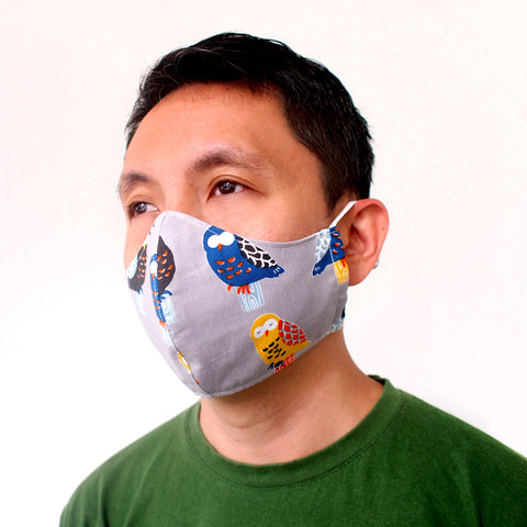 Face Mask (Pocket Insert) - Colored Owls (Gray)