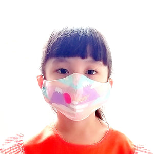 Face Mask (Pocket Insert) KIDS SIZE - Mount Fuji II (Pastel Pink)