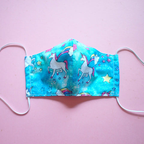 Face Mask (Pocket Insert) KIDS SIZE - Sparkly Rainbow Unicorn (Blue)