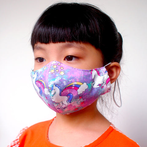 Face Mask (Pocket Insert) KIDS SIZE - Sparkly Rainbow Unicorn (Violet)