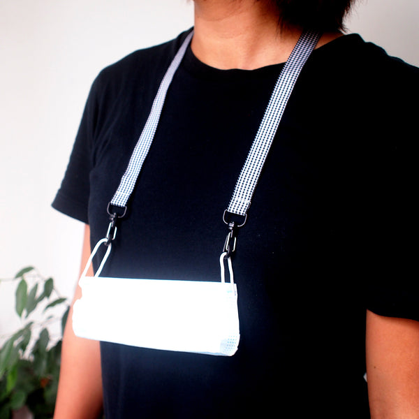 Face Mask Strap - Gingham (Black)
