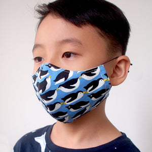 Face Mask (Pocket Insert) KIDS SIZE - Penguin Party (Blue)