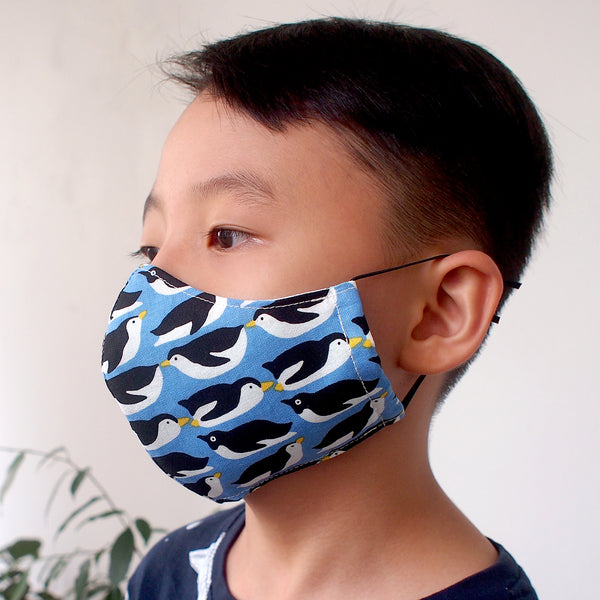 Face Mask (Pocket Insert) KIDS SIZE - Penguin Party (Black)