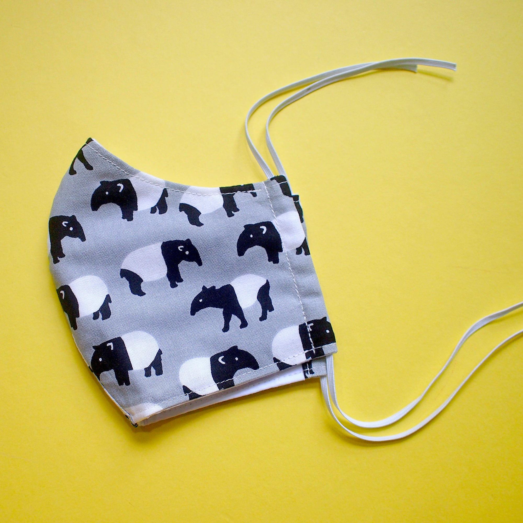 Face Mask (Pocket Insert) KIDS SIZE - Malayan Tapir (Gray)