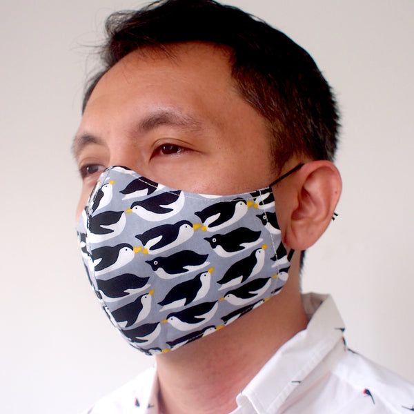 Face Mask (Pocket Insert) - Penguin Party (Gray)