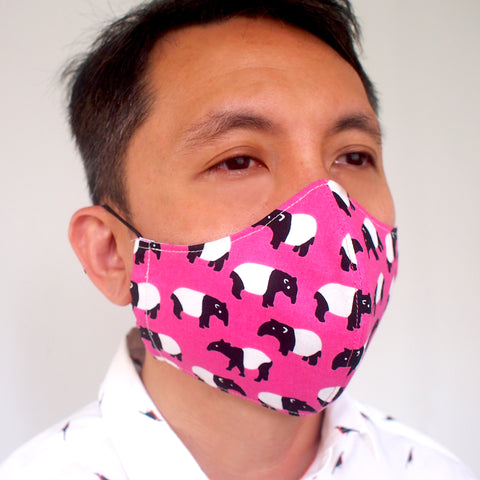 Face Mask (Pocket Insert) - Malayan Tapir (Pink)