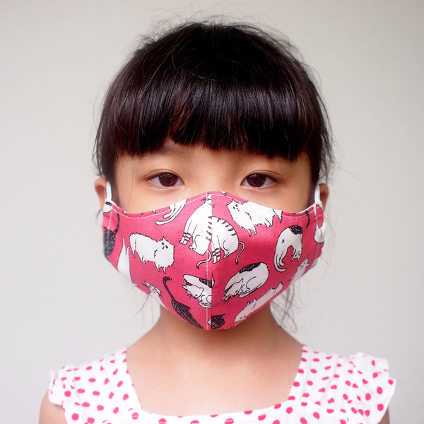 Face Mask (Pocket Insert) KIDS SIZE - Cat Friends (Dusty Pink)