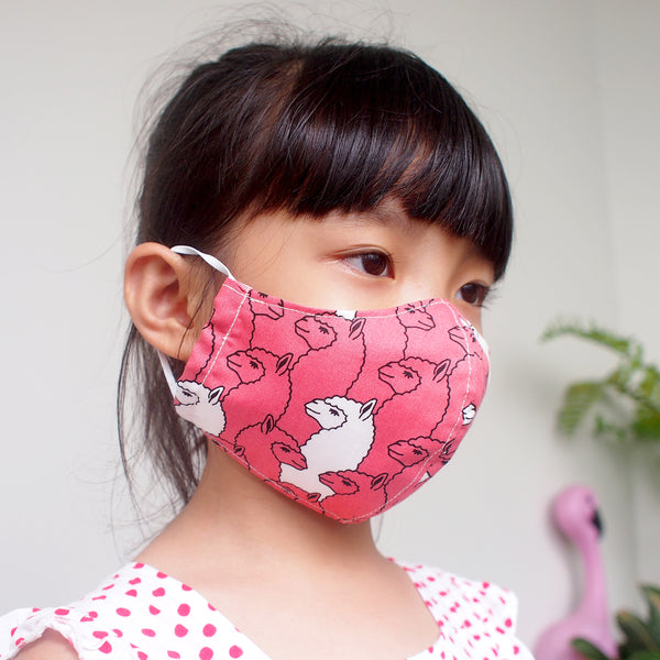 Face Mask (Pocket Insert) KIDS SIZE - Alpaca Llama Mama (Blush)