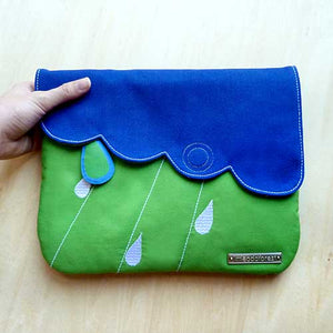 Clutch Purse - Cloudy Days (RoyalBlue AppleGreen)