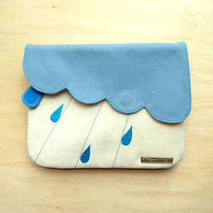 Clutch Purse - Cloudy Days (Sky Blue Ivory)