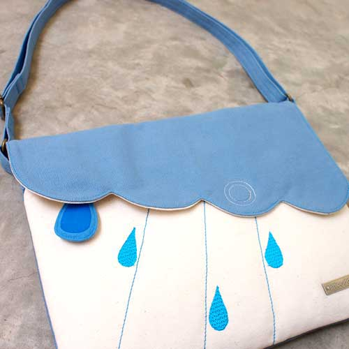 Crossbody Sling Purse - Cloudy Days (SkyBlue Ivory)