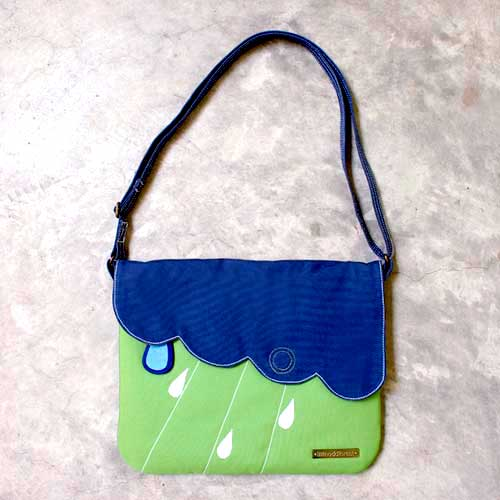Crossbody Sling Purse - Cloudy Days (Dark Blue AppleGreen)