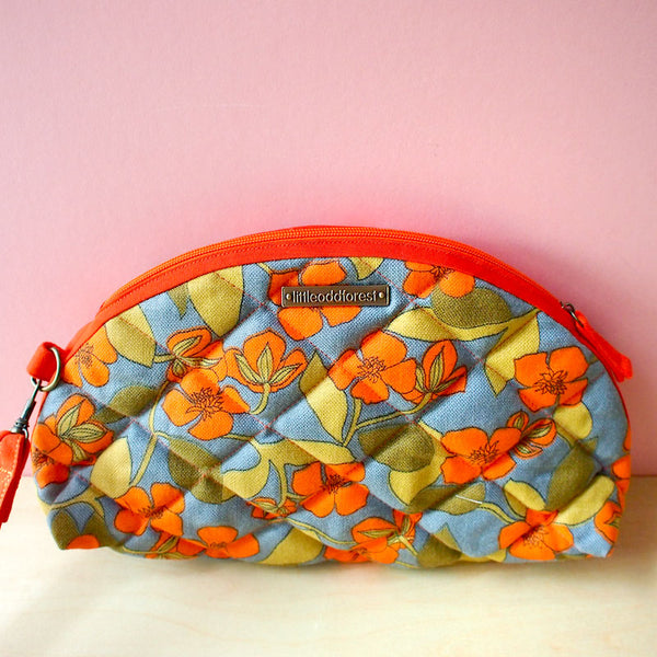 Wrist Clutch - Quilted Summer (Vintage Neon Blossoms)