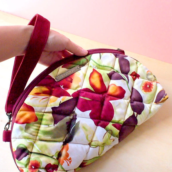 Wrist Clutch - Quilted Summer (Burgundy Watercolour Blooms)
