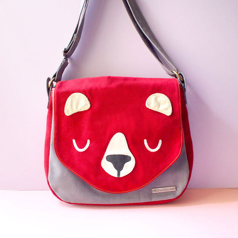 Crossbody Messenger Sling Bag - Forest Honey Bear (3 Colors)
