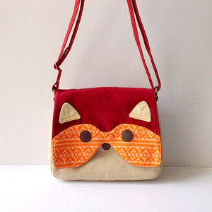 Crossbody Sling Bag - Bandit Raccoon (Vintage Orange Knit)