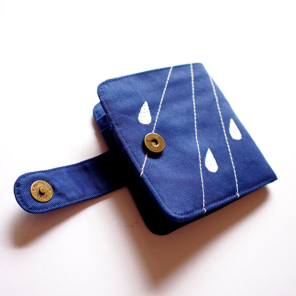 Bifold Billfold Card Wallet - Cloudy Days (Royal Blue)