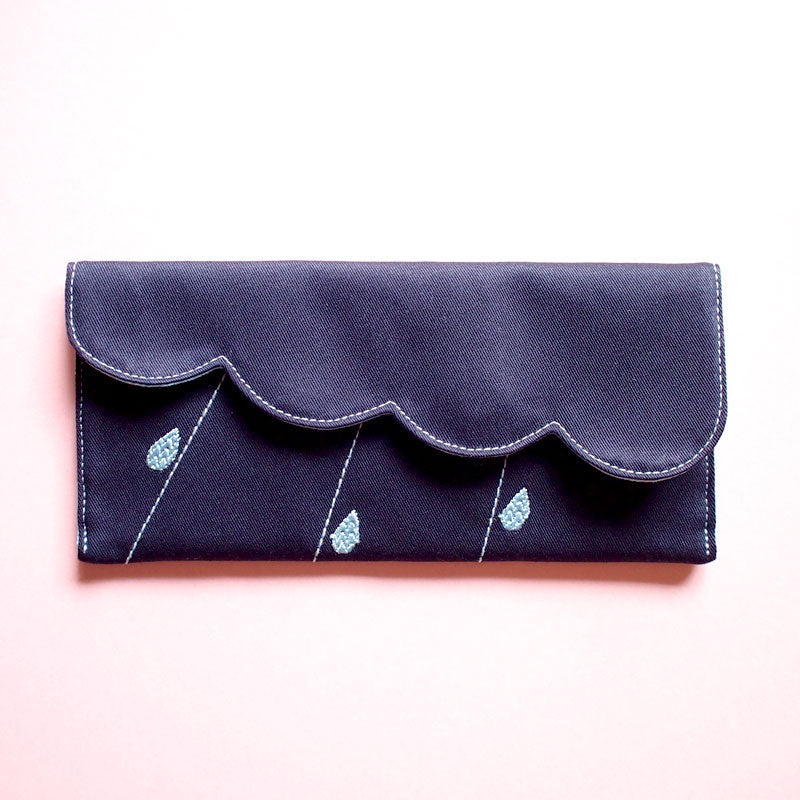Long Bill Card Wallet - Cloudy Days (Dark Blue)