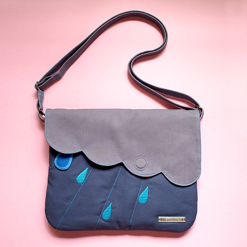 Crossbody Sling Purse - Cloudy Days (Dark Blue Gray)