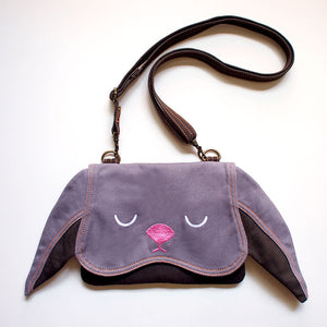 Convertible Crossbody-Wristlet-Wallet - Chubby Bunny (Gray)