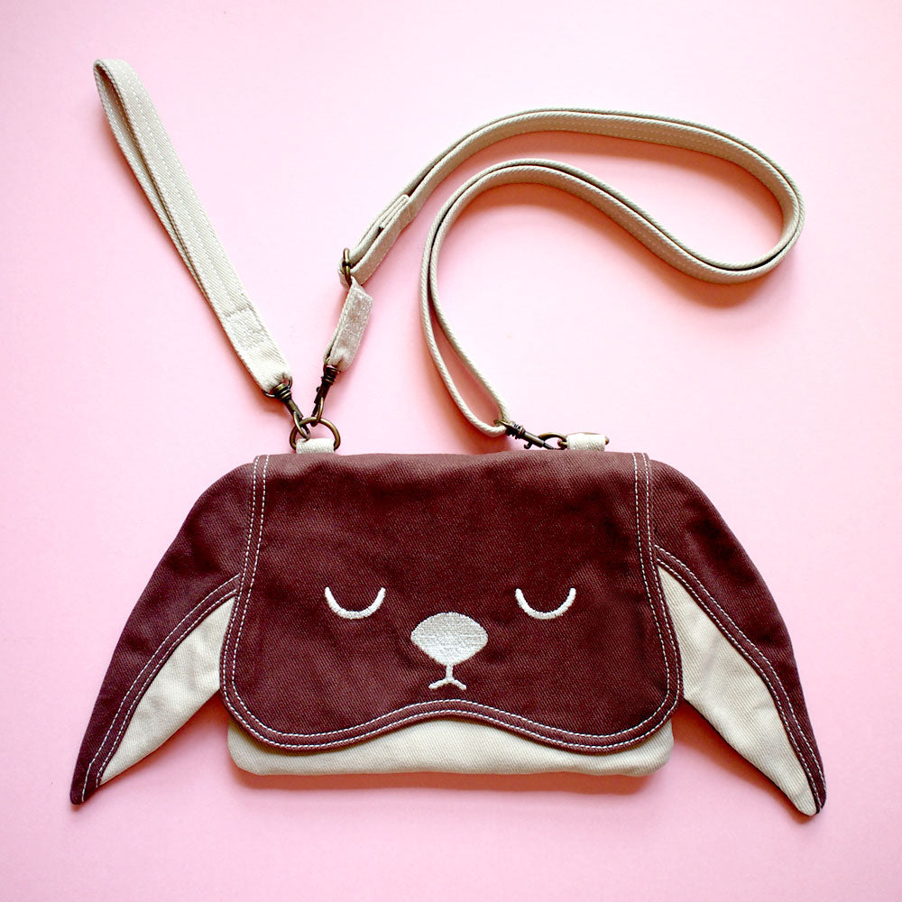 Convertible Crossbody-Wristlet-Wallet - Chubby Bunny (Brown)