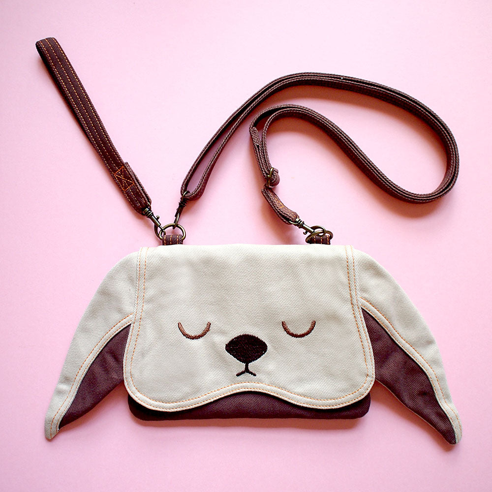 Convertible Crossbody-Wristlet-Wallet - Chubby Bunny (Beige Brown)