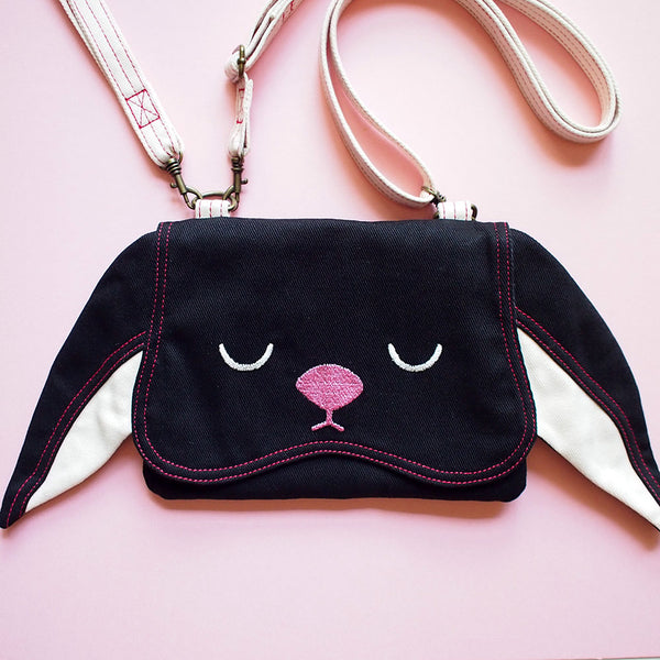 Convertible Crossbody-Wristlet-Wallet - Chubby Bunny (Black)