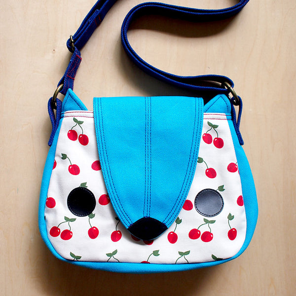Crossbody Sling Bag - Nutkin Squirrel (Red Cherries)