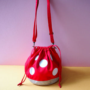 Crossbody Drawstring Bucket Sling Bag - Magic Mushroom (Red)